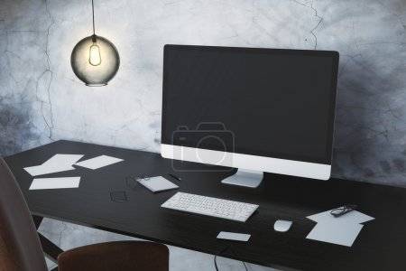 Workplace with computer and accessories