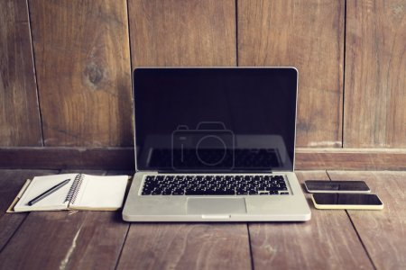 Laptop, diary and smartphones