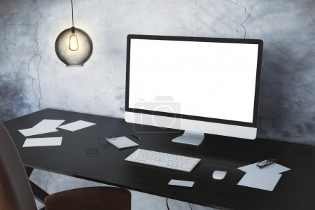 Desktop computer with white screen