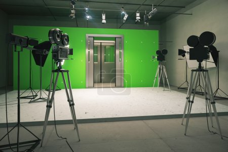 Doors decoration for movie filming with vintage cameras