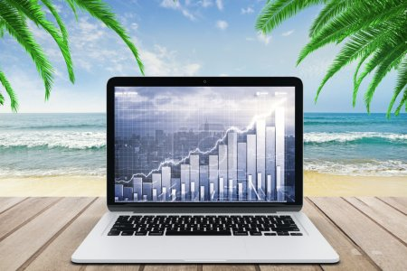 Photo for Double explosure with business chart and city view on laptop screen on wooden bench at the beach with ocean - Royalty Free Image