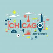 Chicago icons and typography design for cards banners tshirts posters