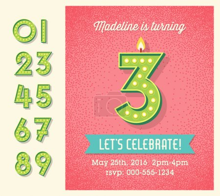Illustration for Greeting card, invitation design with set of lighted retro numbers. easy to edit. - Royalty Free Image