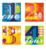 Colorful number designs set 1
