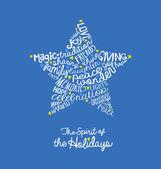 Kézzel írott karácsonyi csillag kártya szó felhő design