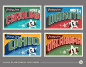 United States vintage typography postcard designs