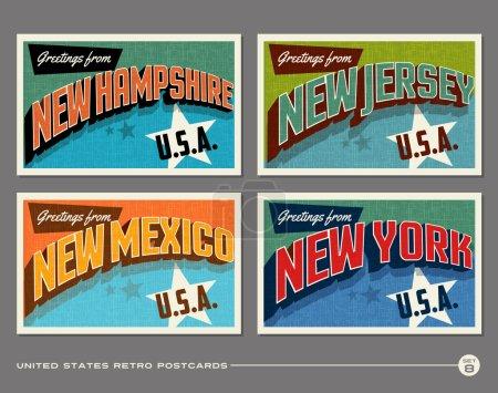 Illustration for United States vintage typography postcard designs - Royalty Free Image