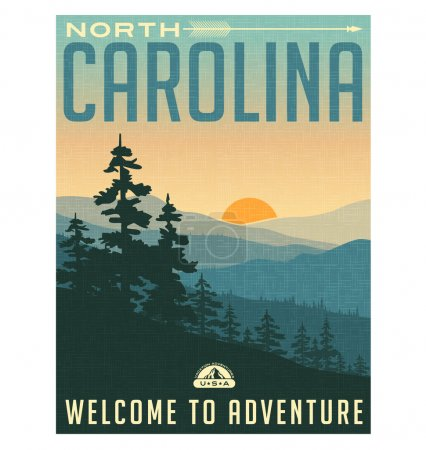 Retro style travel poster or sticker. United States, North Carolina. Great Smoky Mountains