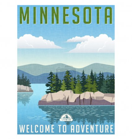 Retro style travel poster or sticker. United States, Minnesota lakes and pine trees