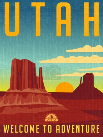 Retro style travel poster or sticker. United States, Utah buttes