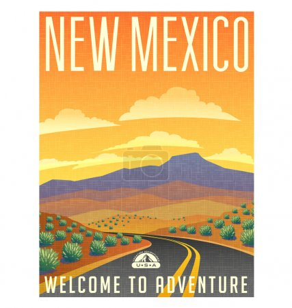 Retro style travel poster or sticker. United States, New Mexico. sunset and  landscape