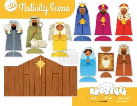 Nativity Scene. Print, cut out and assemble set