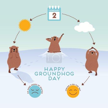 Illustration pour Journée de la marmotte Infographie avec des marmottes mignonnes - image libre de droit