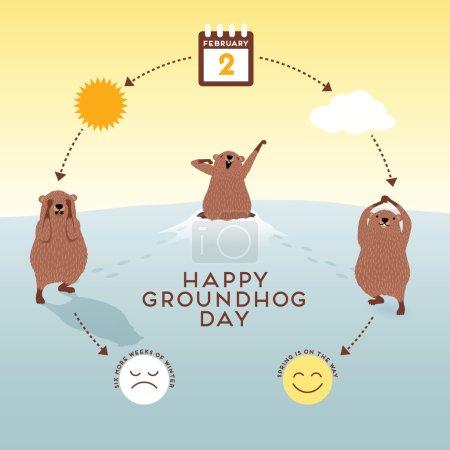 Photo pour Journée de la marmotte Infographie avec des marmottes mignonnes - image libre de droit