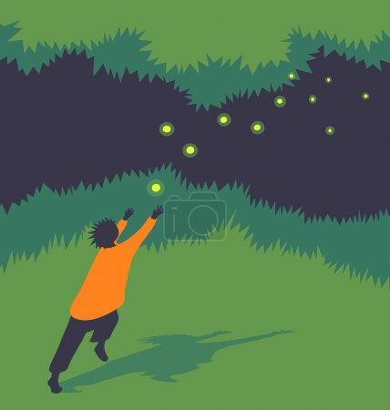vector illustration child chasing fireflies at night