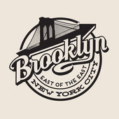 Brooklyn New York City retro vintage typography t-shirt  poster printing design Brooklyn Bridge
