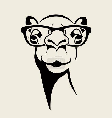 Illustration pour Drôles de chameau portant des lunettes. illustration vectorielle pour T-shirt, poster, design imprimé . - image libre de droit