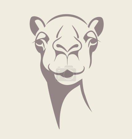 Illustration pour Illustration vectorielle drôle de visage de chameau pour T-shirt, affiche, conception d'impression . - image libre de droit