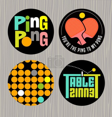 set of badges or buttons promoting ping pong, table tennisPrint