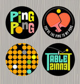 set of badges or buttons promoting ping pong table tennisPrint