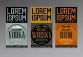 vector label set for vodka whisky and rum