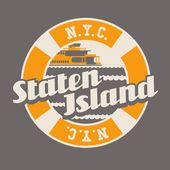 vintage t-shirt sticker emblem design Staten Island lettering with ferry New York City