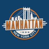 vintage t-shirt sticker emblem design Manhattan New York City and Manhattan Bridge and skyline