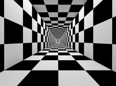Checkered black and white tunnel