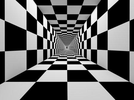 Photo pour Abstraction tunnel noir et blanc à carreaux - image libre de droit