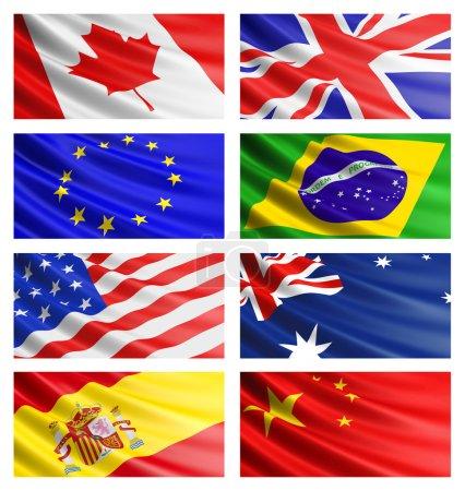 Photo pour Popular flags collection: American Flag, British Flag, Canadian Flag, Brazilian Flag, Australian Flag, Chinese flag, Spanish flag, Euro flag. - image libre de droit