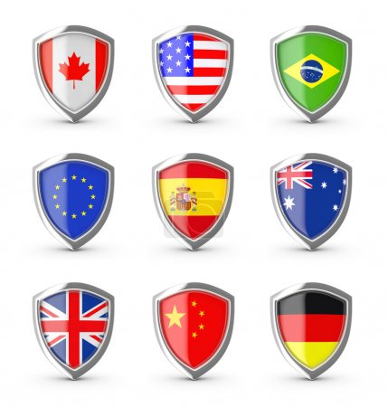 Popular flags collection on the shield.