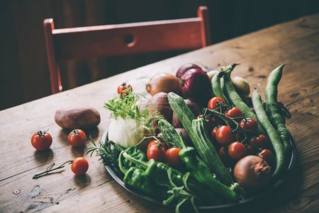 Different fresh farm vegetables