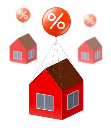 Photo pour Maison rouge vole à l'aide de gros ballon rouge avec le blanc signe de pourcentage. Les mêmes maisons est flou sur le fond. Concept d'achat immobilier, des remises et des crédits pour la construction et du logement - image libre de droit