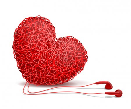 Illustration for Heart weaved from variety of twisted red wires and earphones nearby, on white background. Listening to your heart concept - Royalty Free Image