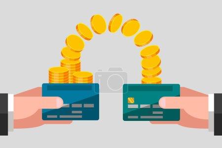 Illustration pour Les mains de l'homme gardent les cartes bancaires. Pièces d'or d'une carte se déplacent vers une autre carte. Transfert d'argent. Concept d'entreprise - image libre de droit