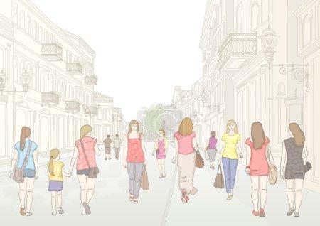 City street and pedestrians