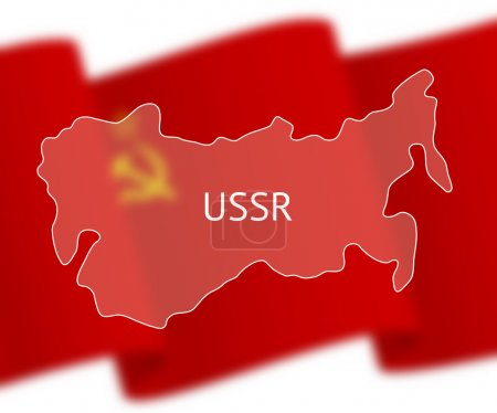 Outlines of Soviet Union on national flag background