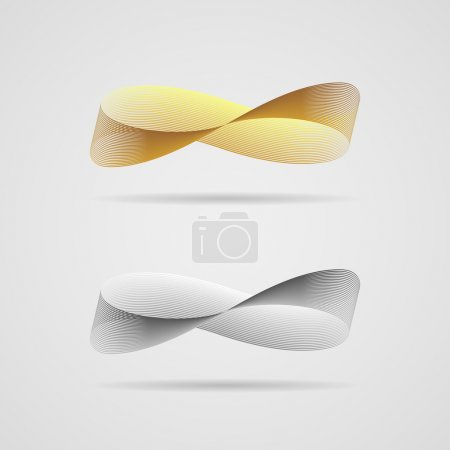 Ribbon, consisting of tiny lines, in the form of i...