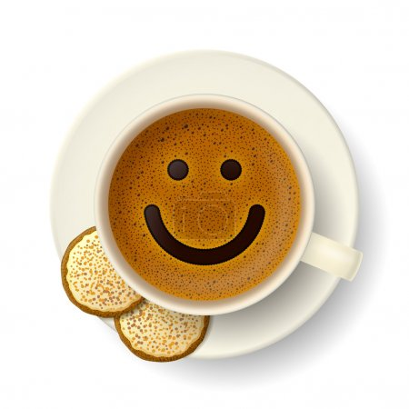 Illustration pour Tasse à café avec mousse en forme de visage souriant. Cookies sur soucoupe. Bonne humeur et vivacité pour une journée active - image libre de droit