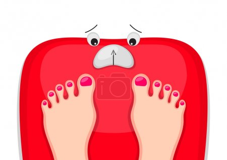 Illustration for Female feet are standing at red bathroom scales with upset face. Motivation to lose weight. Time for diet concept - Royalty Free Image