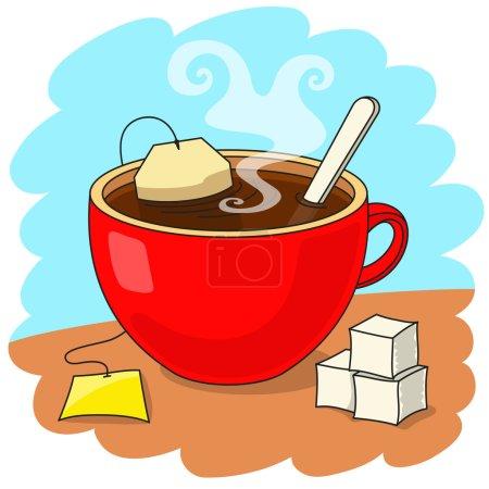 Cup of tea and sugar bricks