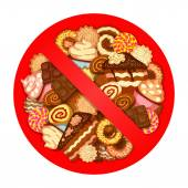 Various sweets inside prohibitory sign