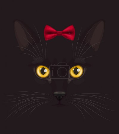 Black cat with bow
