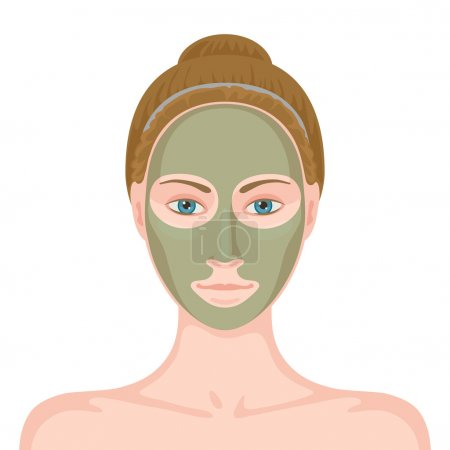 Woman with cosmetic mask on her face