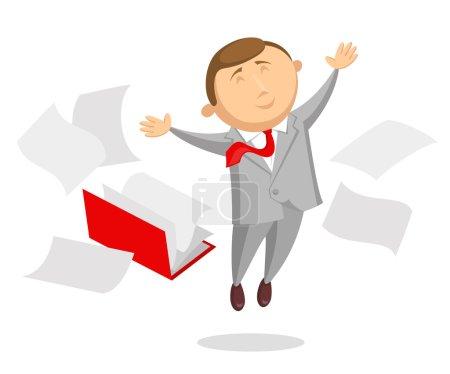 Happy clerk and document folder