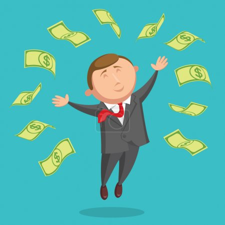 Contented businessman is jumping among the dollars