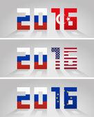 Označení roku 2016 s vlajkami Rusko a Turecko, Spojené