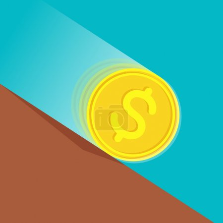 Money depreciation. Gold coin with dollar sign