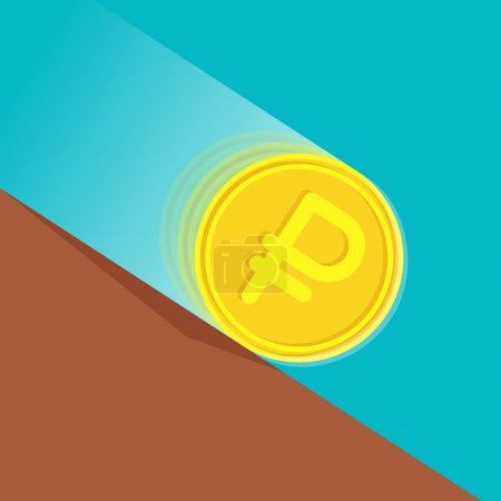 Illustration for Gold coin with russian ruble sign at high speed is rolling down at sloping plane. Depreciation of money concept - Royalty Free Image