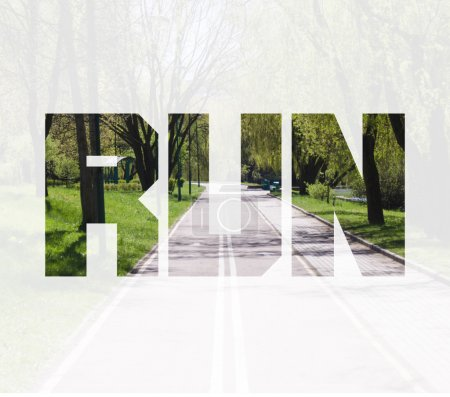 Double exposure of the park with run road and text...